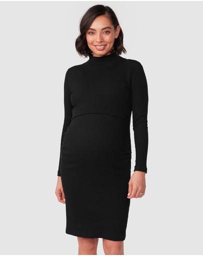 Pea In A Pod Maternity Audrey Long Sleeve Nursing Rib Dress Black