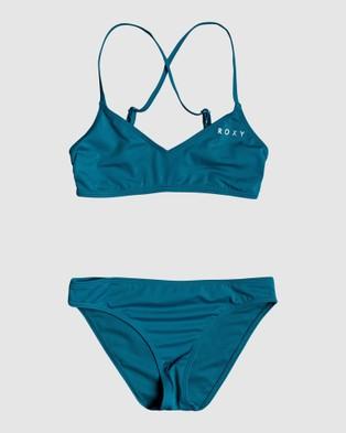 Roxy Girls 8 14 Summer Of Surf Athletic Bikini Set - Bikini Set (INK BLUE)