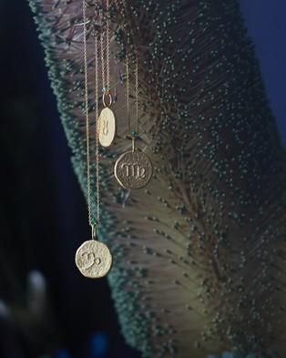 Aletheia & Phos The Capricorn Zodiac Necklace Jewellery Gold Emerald