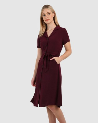 Forcast Cindy Button Up Dress - Dresses (Plum)