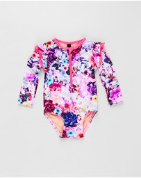 Aqua Blu Kids - Peony Flutter Long Sleeve One-Piece - Babies