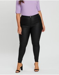 Missguided Curve - Vice Coated Denim Skinny Jeans