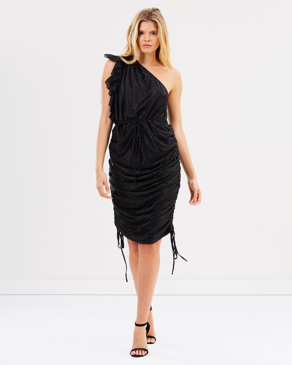 Shona Joy Cassis One Shoulder Drawstring Mini Dress Dresses Black Cassis One-Shoulder Drawstring Mini Dress