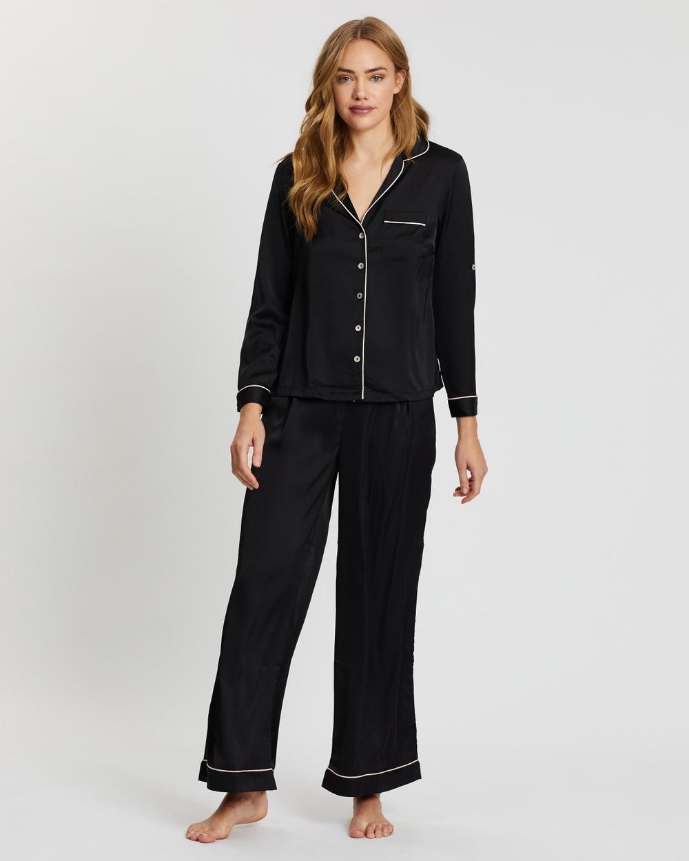 Homebodii Sabrina Long Sleeve PJ Set Two-piece sets Black With Blush Piping