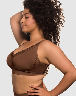 B Free Intimate Apparel Lace Minimiser Bra - Crop Tops (Chocolate)