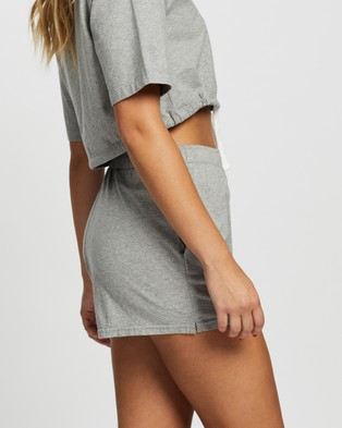 Les Girls Les Boys Jersey Apparel Loose Shorts - High-Waisted (Grey Marle)