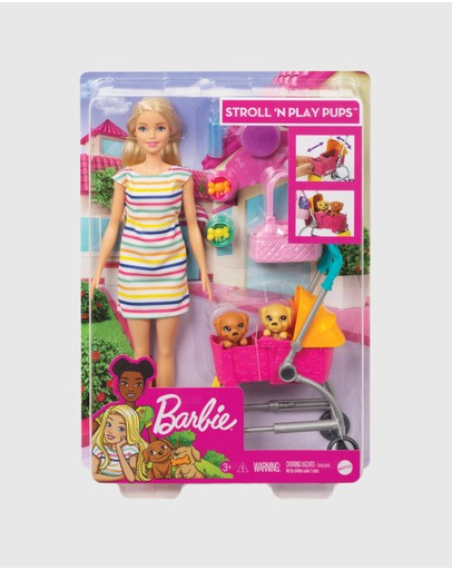 Barbie - Barbie Stroll 'n Play Pups Doll and Accessories