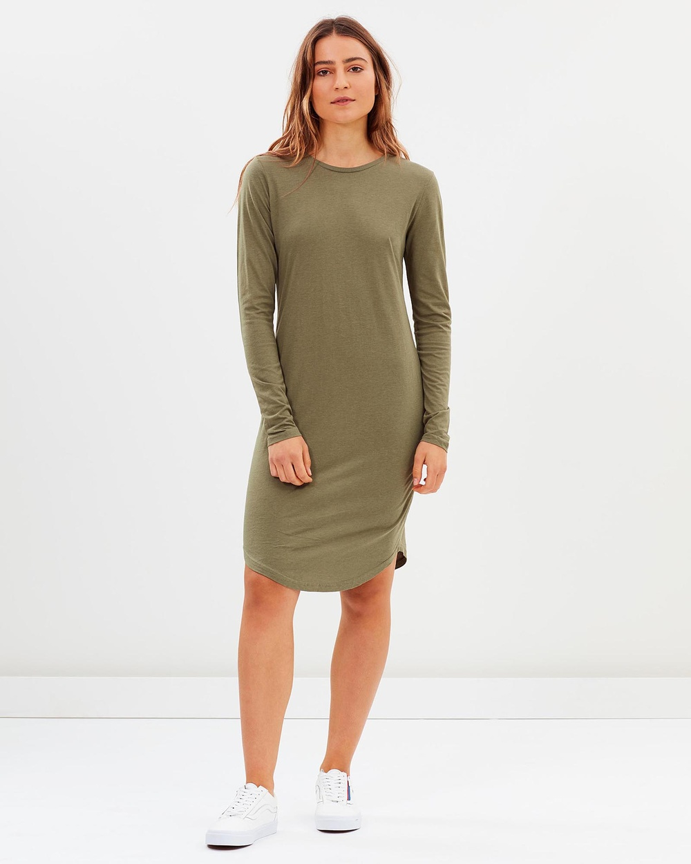 Tee Ink Asymmetrical Hem LS Tee Dress Dresses Khaki Asymmetrical Hem LS Tee Dress