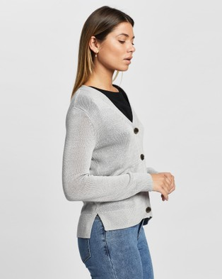 David Lawrence Alice Linen Mix Cardigan - Jumpers & Cardigans (GREY MARLE)
