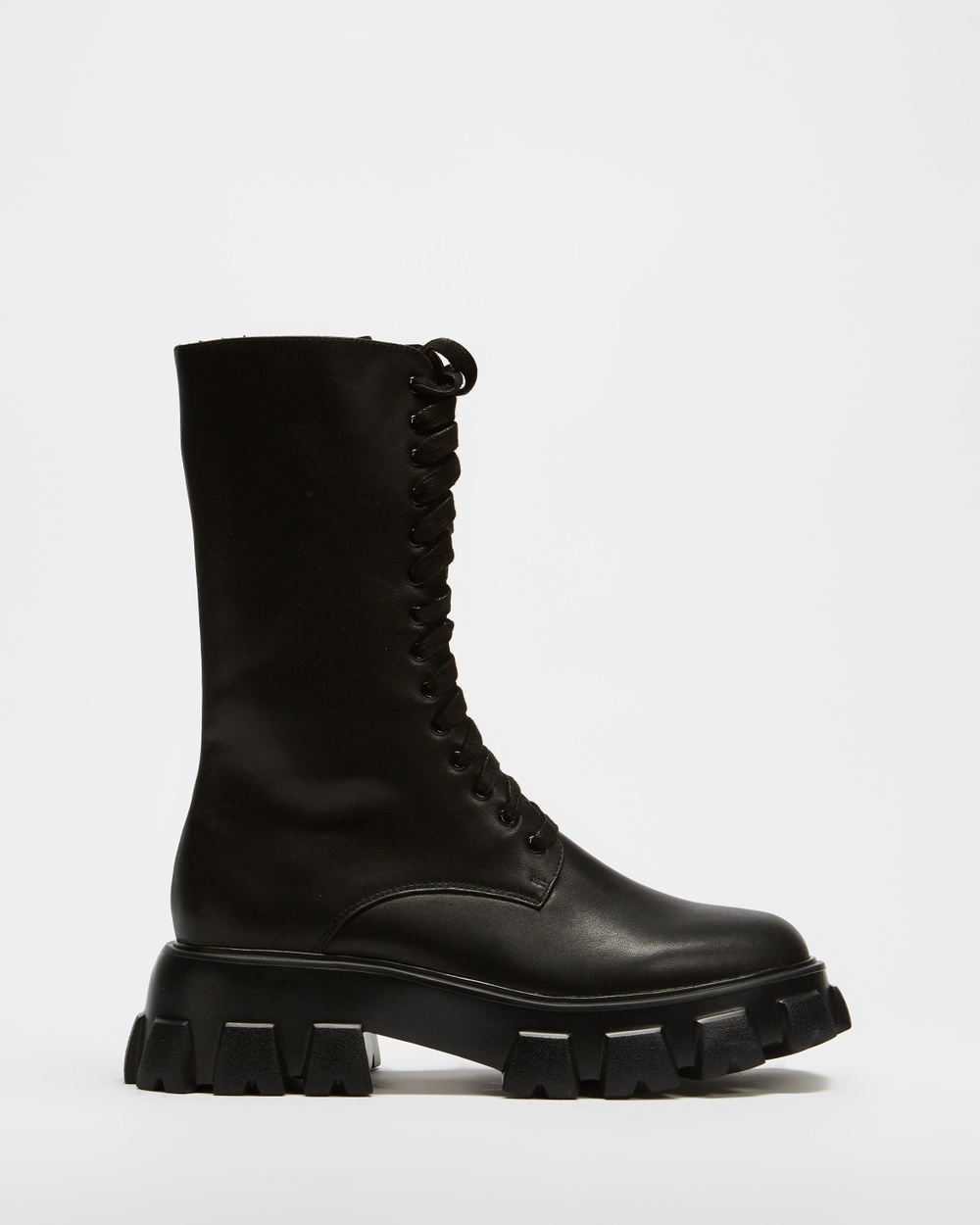 AERE Chunky Cleated Sole Leather Lace Up Boots Black Leather