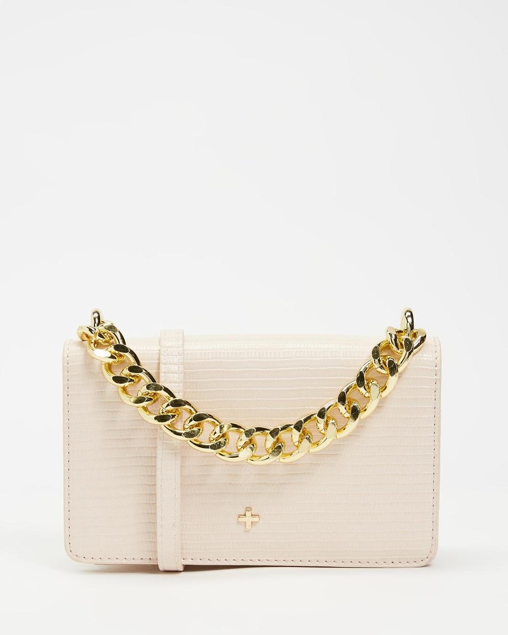 PETA AND JAIN Sloane Handbags Nude Lizard & Gold