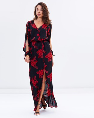 Atmos & Here – Dandy Long Sleeve Maxi Dress Red Stencil Floral