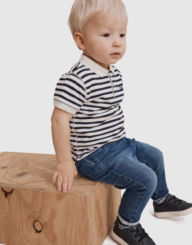 Kids Organically Grown Cotton Stripe Polo Shirt