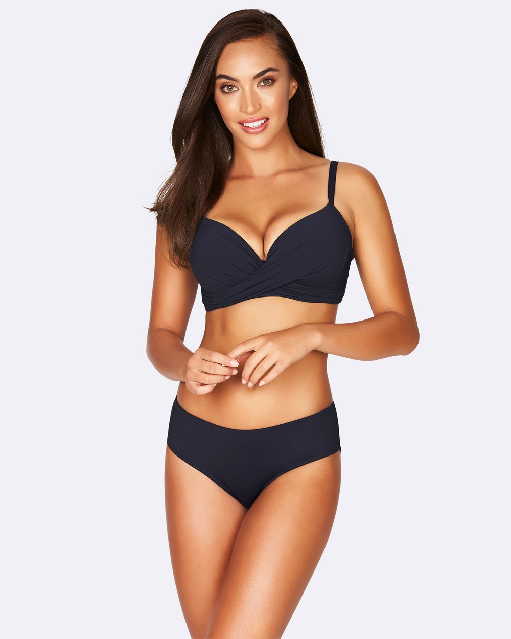 Sea Level by Nip tuck swim Cross Front Moulded Underwire Bra Bikini Tops Night Sky Cross Front Moulded Underwire Bra