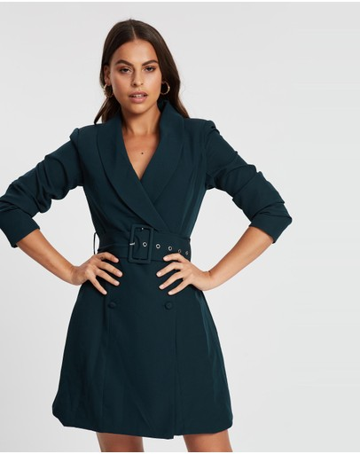 Missguided Self Belt Blazer Dress Deep Green