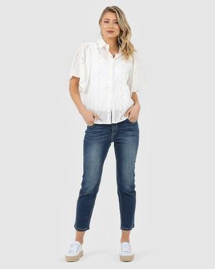 Privilege Flounce Sleeve Shirt - Shirts & Polos (Off White)