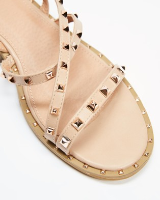Betsy - Studded Strappy Sandals (Beige)