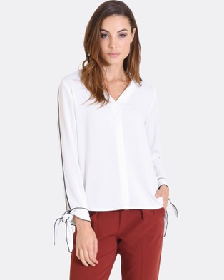 Forcast – Bambi Tie Sleeve Top Ivory