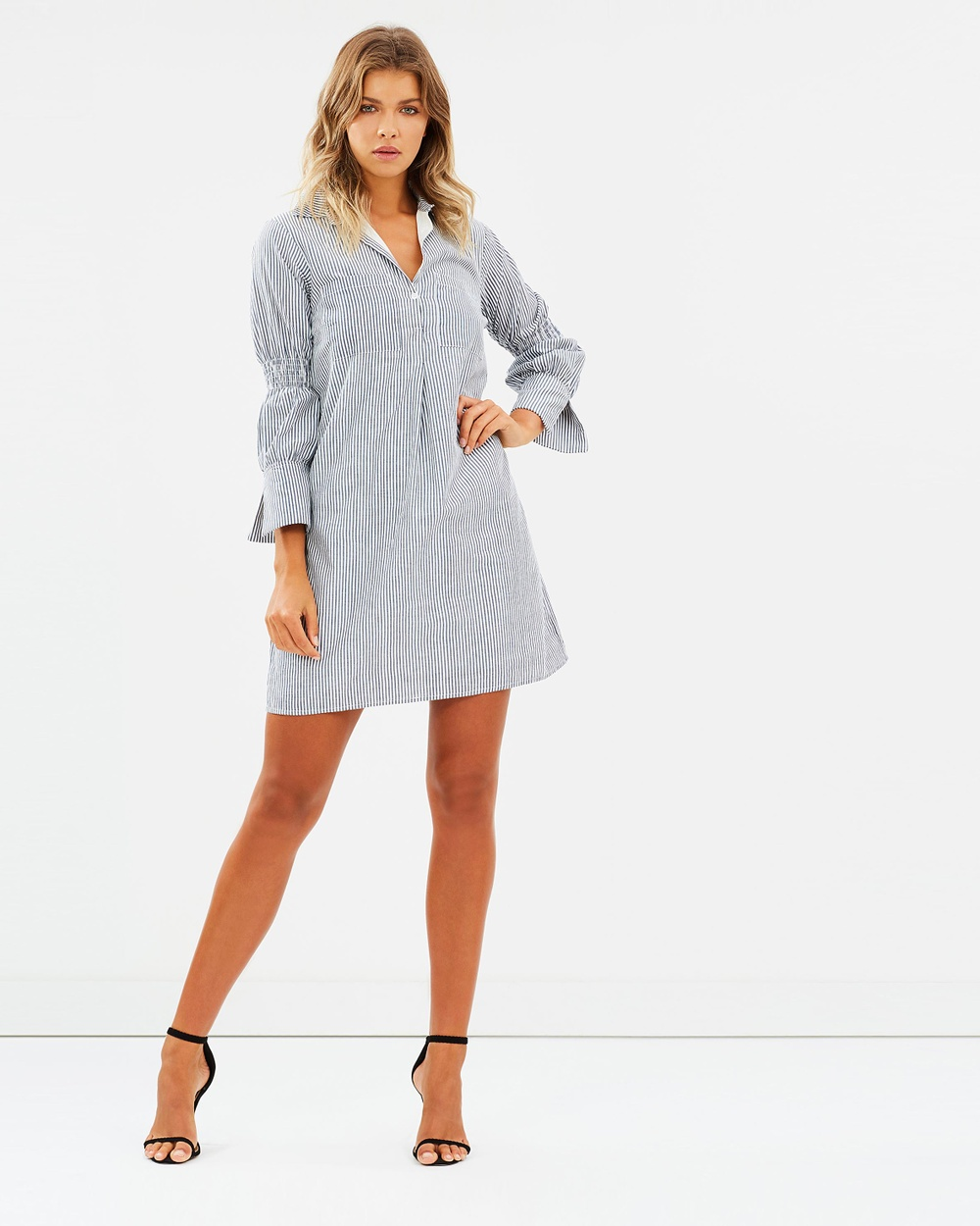 Atmos & Here ICONIC EXCLUSIVE Paloma Shirt Dress Dresses Blue Stripe ICONIC EXCLUSIVE Paloma Shirt Dress