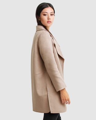 Belle & Bloom Ex Boyfriend Wool Blend Oversized Coat - Coats & Jackets (Beige)