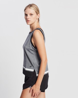 ASICS Colour Block Tank - Muscle Tops (Carrier Grey Heather)