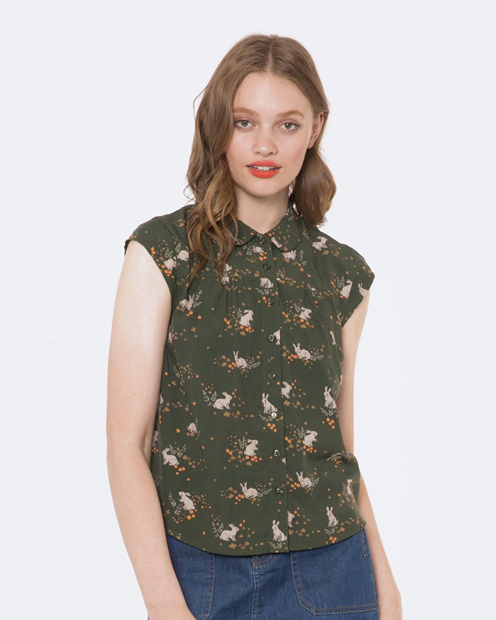 Princess Highway Garden Rabbit Blouse Tops Green Garden Rabbit Blouse