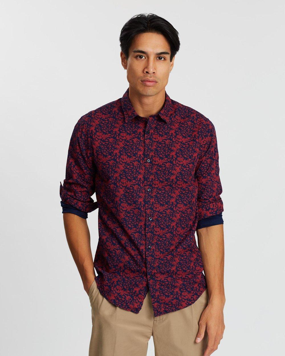 Scotch /& Soda Mens Regular Fit-Classic All-Over Printed Shirt Casual