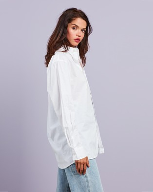 Dazie - Your Dad's Oversized Shirt Tops (White)