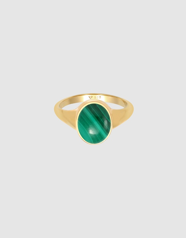 Women Ring Signet Ring Malachite Green in 925 Sterling Silver Gold Plated