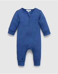 Purebaby - Rib Zip Growsuit - Babies