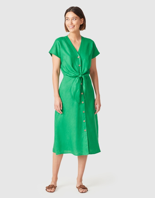 French Connection - Linen Tie Front Midi Dress
