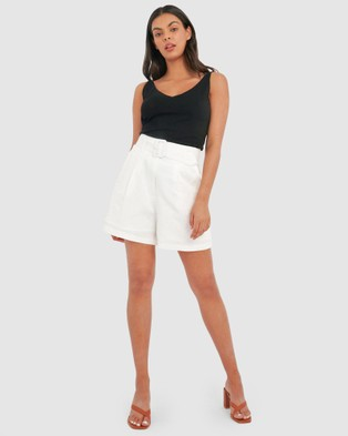 Forcast Jana Belted Linen Shorts - High-Waisted (Ivory)