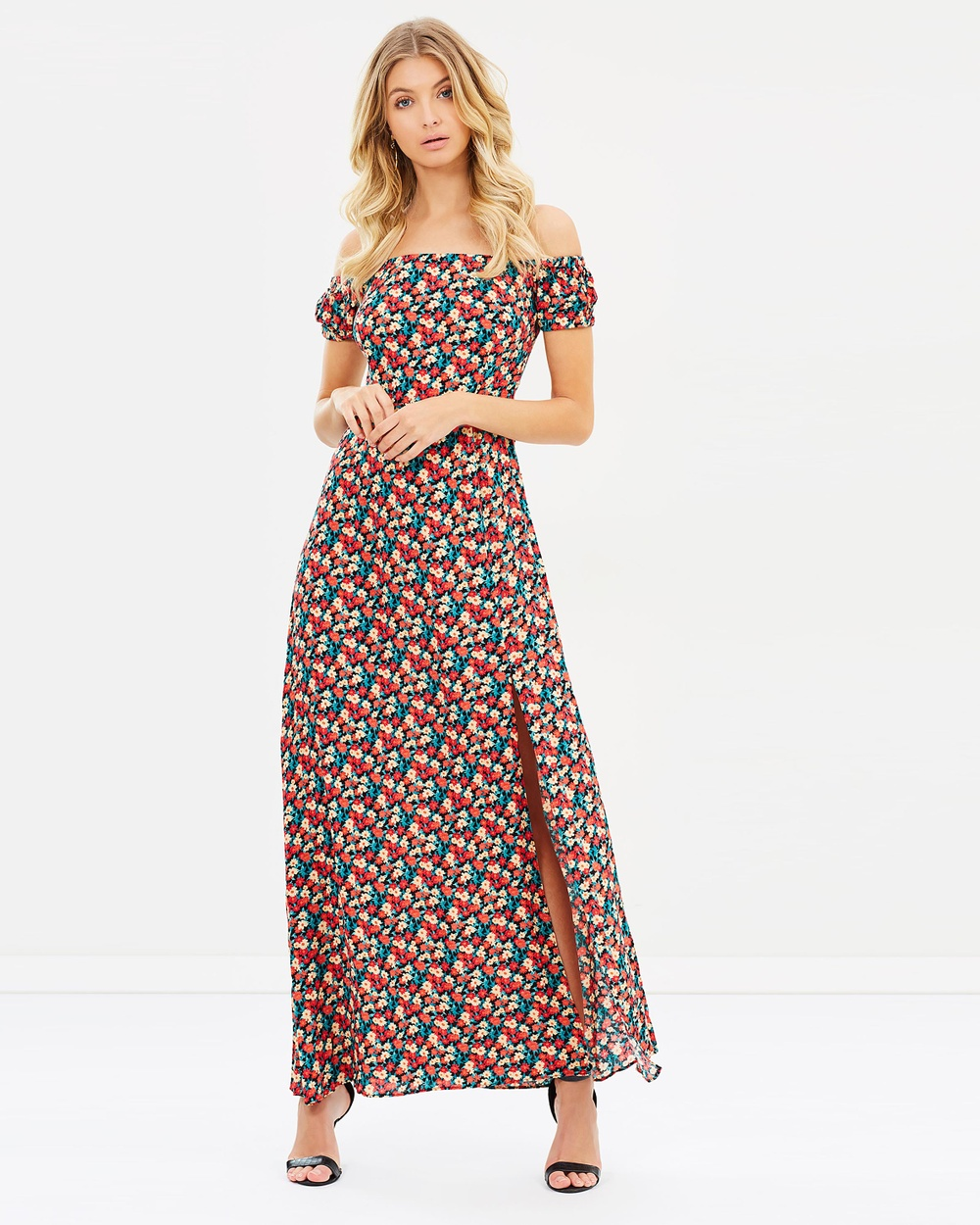 Atmos & Here ICONIC EXCLUSIVE Azariah Off Shoulder Maxi Dress Printed Dresses Black Base Daisy ICONIC EXCLUSIVE Azariah Off-Shoulder Maxi Dress