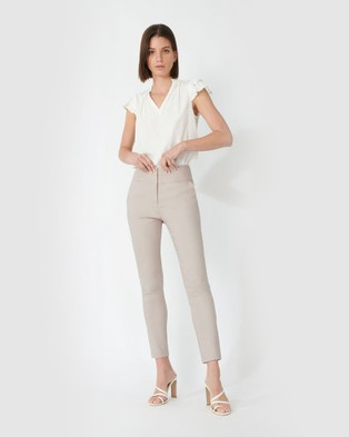 Forcast Myah Double Waistband Pants - Pants (Taupe)