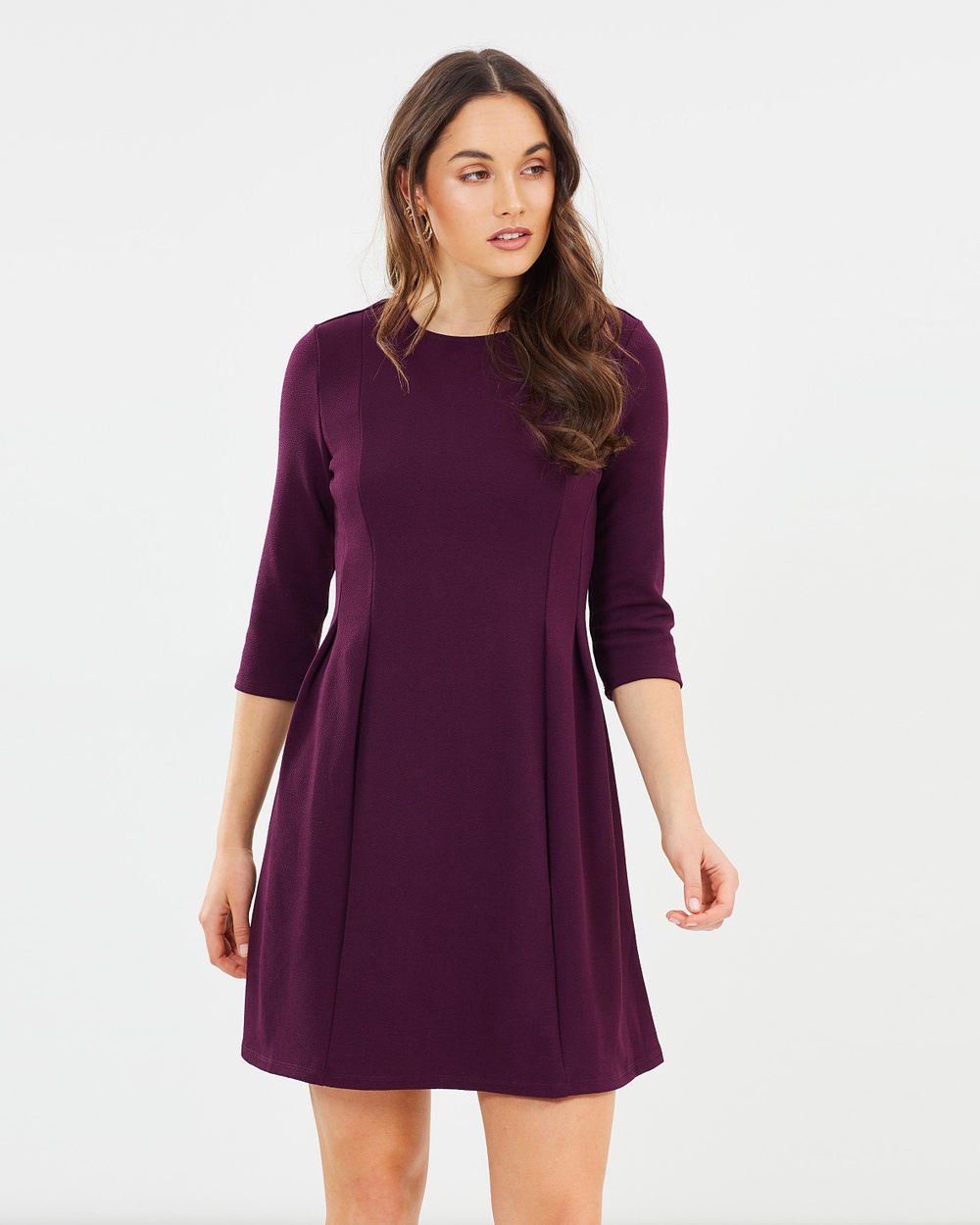 Dorothy Perkins 3 4 Sleeve Fit and Flare Dress Dresses Berry 3-4 Sleeve Fit-and-Flare Dress