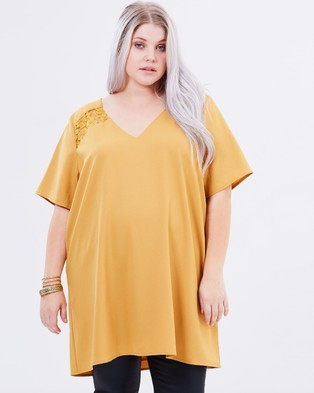 Atmos & Here Curvy – Camille Lace Inset Tunic – Tops (Mustard)