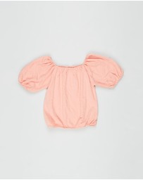 Free by Cotton On - Isabel Crinkle Puff Sleeve Top - Teens