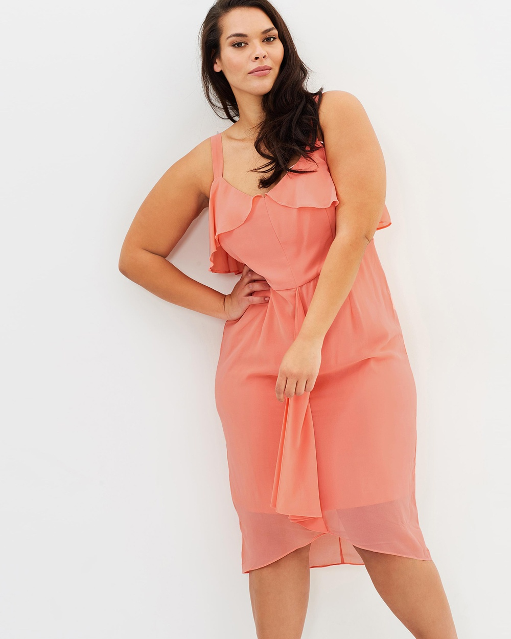 Cooper St CS CURVY Candice Drape Dress Dresses Peach CS CURVY Candice Drape Dress