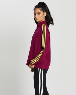 adidas Performance 3 Stripes Cover Up Jacket - Sweats (Power Berry & Semi Solar Slime)