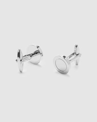 Buckle Round Nickel Cufflinks - Ties & Cufflinks (Silver)
