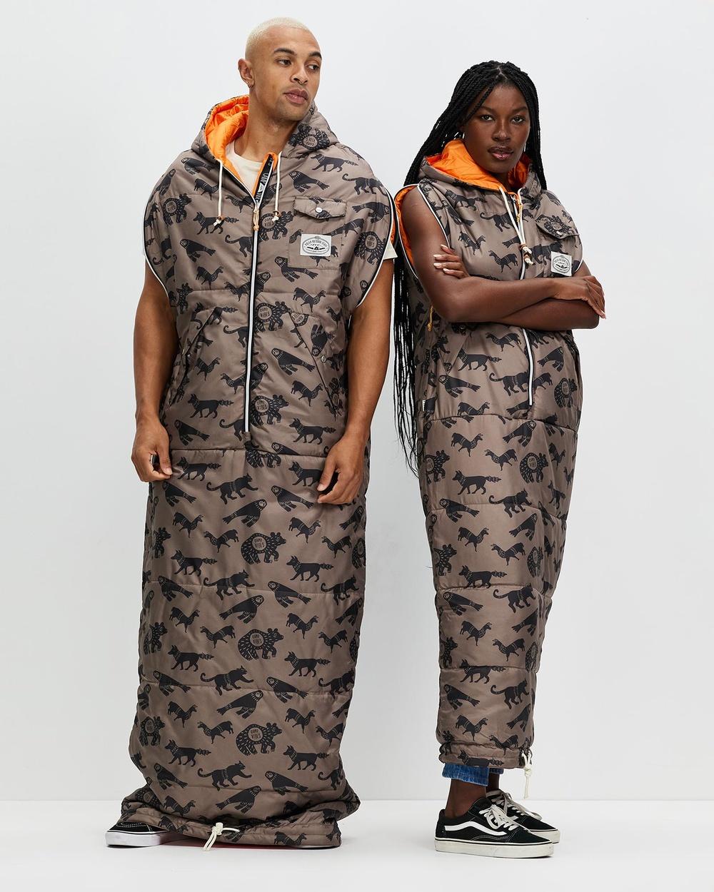 Poler Reversible Napsack Unisex Sleeping Bags & Napsacks Orange Brown Critter