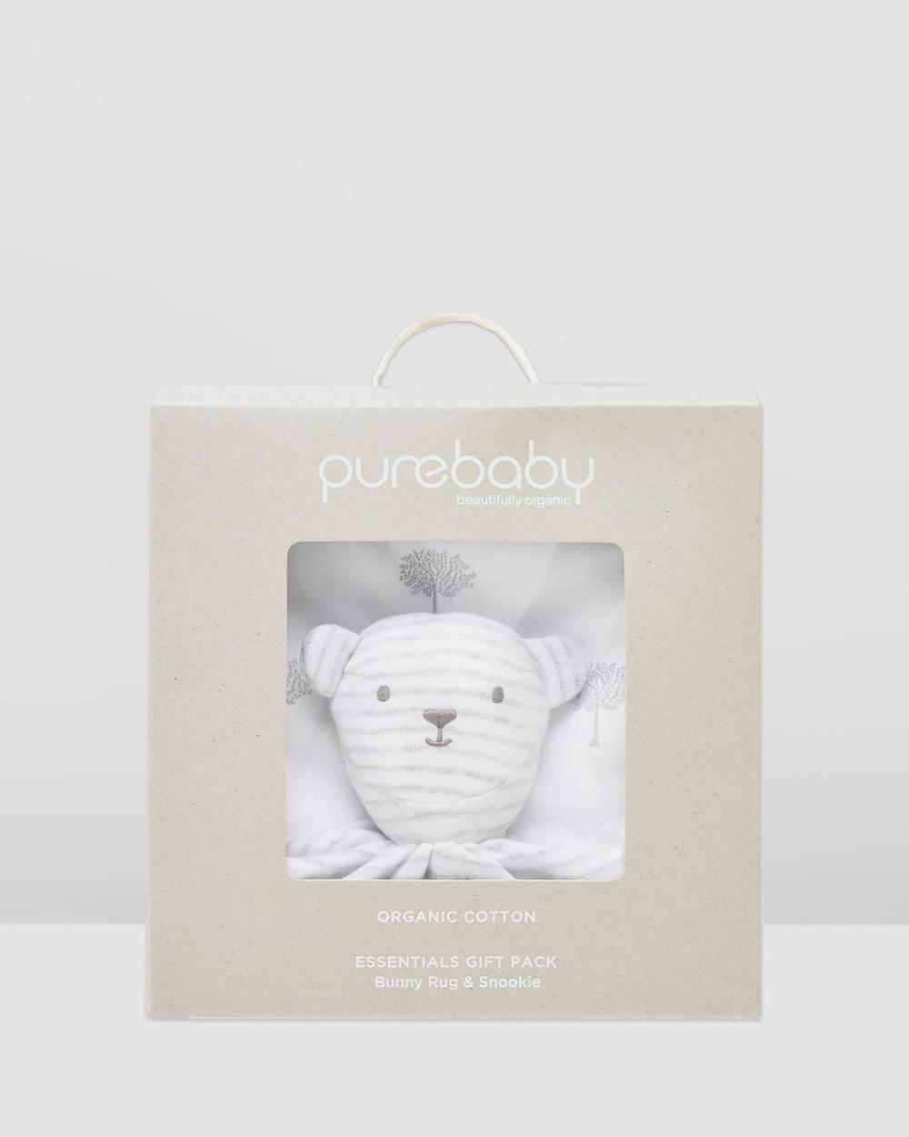 Purebaby Bunny Rug Snookie Pack Wraps & Blankets Pale Grey Tree