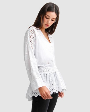 Belle & Bloom - Unbutton Me Eyelet Button Down Shirt Tops (White)