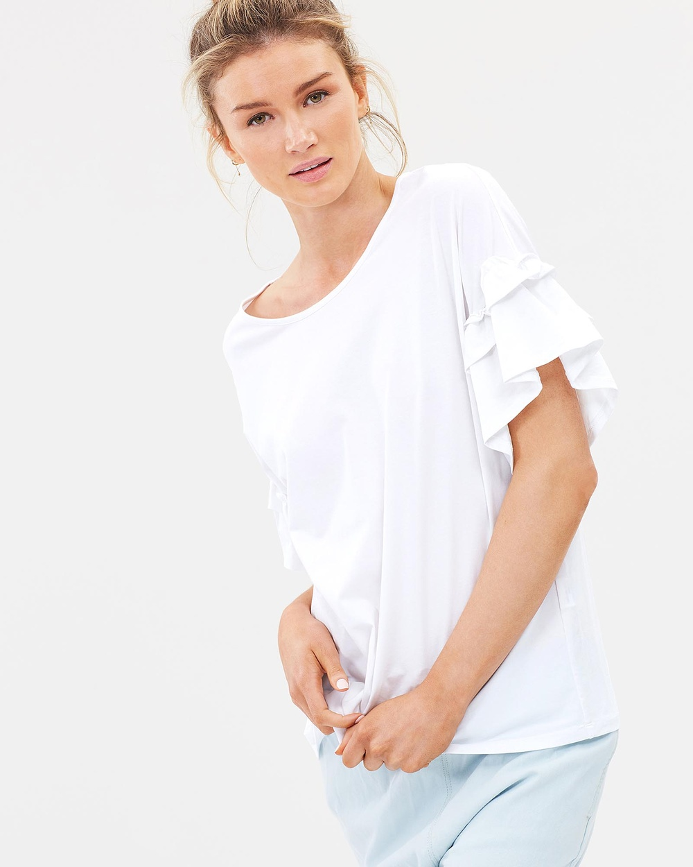 Lincoln St The Frill Cuff Tee Tops White The Frill Cuff Tee