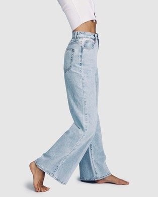 Cotton On Long Wide Jeans - High-Waisted (Roadnight Blue)