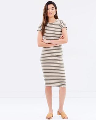 MINKPINK – Walk The Line Midi Dress – Bodycon Dresses (Khaki Stripe)