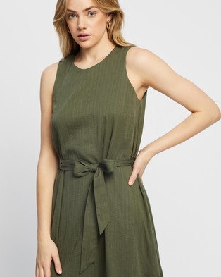 MINKPINK Crew Shift Midi Dress - Dresses (Khaki)