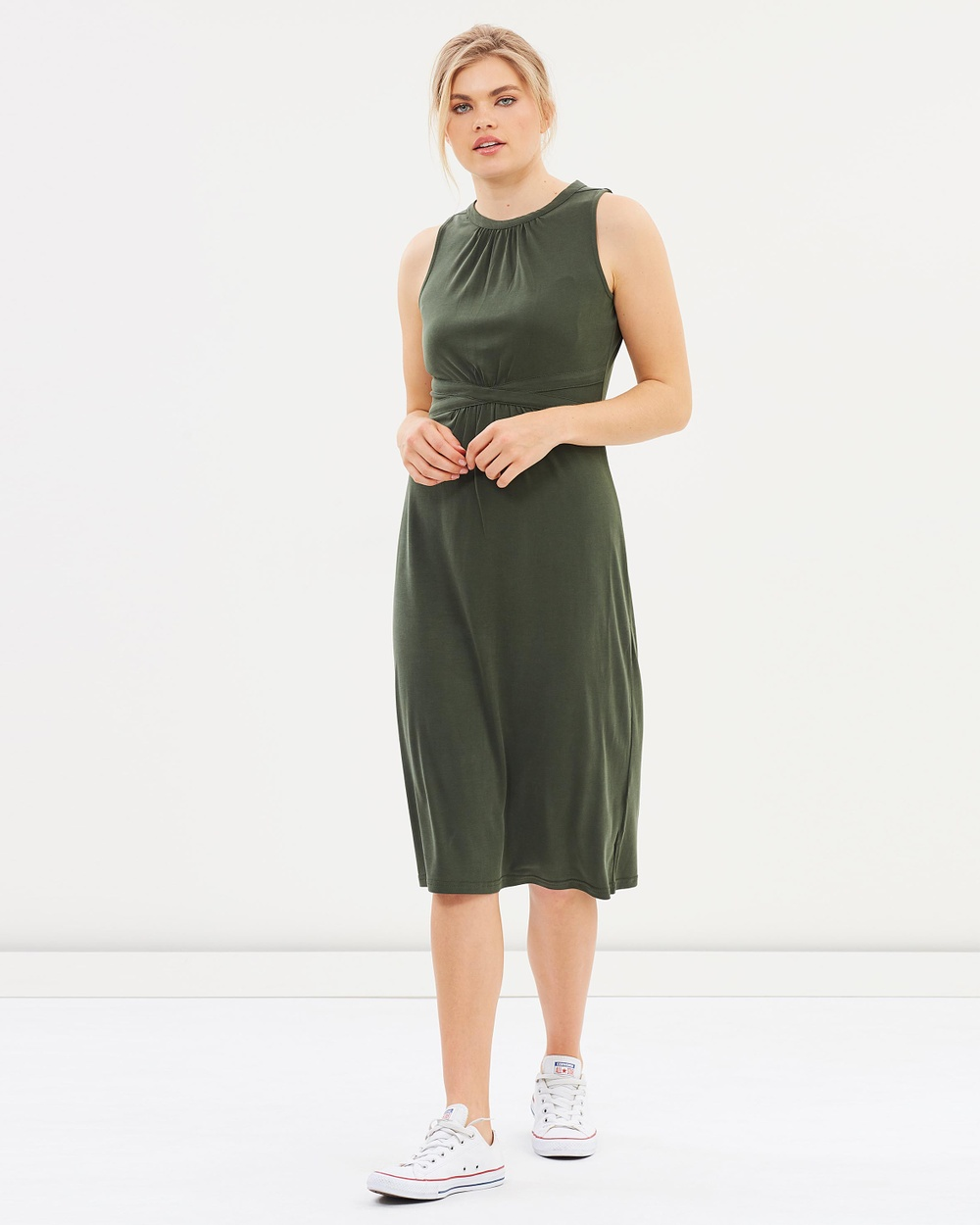 Oasis Grecian Midi Dress Dresses Khaki Grecian Midi Dress