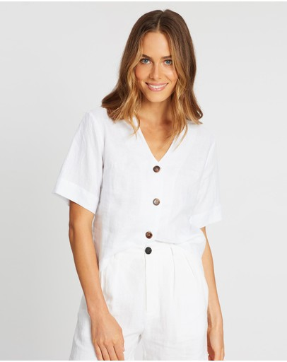 AERE - Button-Through Linen Top