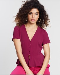 Missguided Petite - Button Detail Peplum Blouse